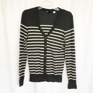 BDG gray & cream striped cardigan sweater L